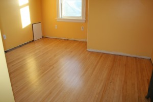 Here's the floor mere hours after being refinished.